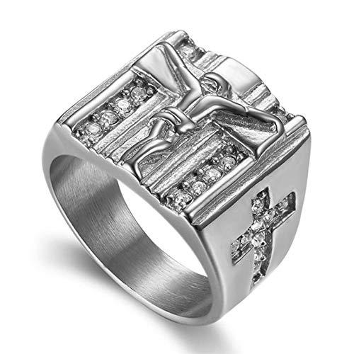 Lucky Meet Anillo de titanio con cruz de acero, anillos de acero inoxidable para hombres, Christian Holy Jesus Cross Alianza de boda, anillo de sello, ajuste cómodo, Spinner rezando (caja de regalo)