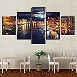 DBFHC Cuadros Modernos Impresión De Imagen Artística Digitalizada Gran Canal De Venecia Italia En La Noche Lienzo Decorativo para Salón O Dormitorio 5 Piezas XXL