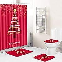 フーピースシャワーカーテン防水シャワーカーテンU字形の床マットトイレシートクッションスクエアフロアマット、カビプルーフポリエステル、キッチンバスルームクリスマス印刷 Christmas1