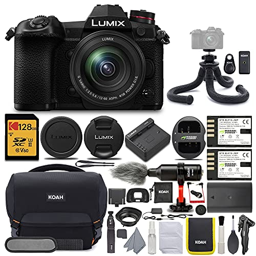 Panasonic LUMIX G9 Mirrorless Camera with LUMIX G Vario 12-60mm Lens with 128GB UHS-II V60 SD Card and KOAH Pro Complete Accessory Starter Bundle (6 Items)