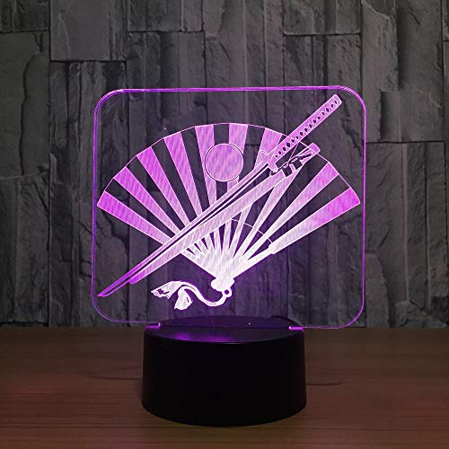 beiping 3D Illusion Samurai Sword Fan Smart Touch Night Light 16 Color Change Led Illusion Lamp Best Holiday Birthday Gift