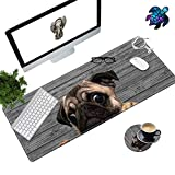Desk Pad Mat Large Mouse Pad XL Extended Mousepad Gaming with Dog Mom 31.5