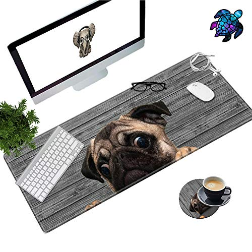 Desk Pad Mat Large Mouse Pad XL Extended Mousepad Gaming with Dog Mom 31.5' 11.8' Huge Mouse Pads for Computer Laptop Home Office + Cup Coaster and Cute Stickers