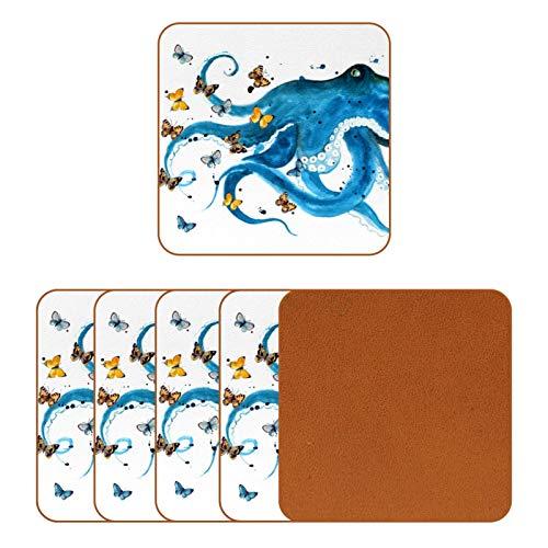 BENNIGIRY Pulpo Azul con Mariposas Posavasos de Cuero Taza de café Cuadrada Taza de Vidrio Manteles Individuales Tapetes para Tazas Manteles Individuales 6 PCS