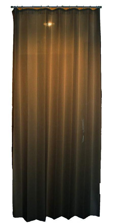 インポート血まみれシンジケートオーダー 折りたたみ カーテン 「たためるやん」 幅140cm×丈170cm 1枚 ブラウン 防炎ラベル?リングランナー付き 丈300cmまで (防炎 遮熱 断熱 UVカット 消臭 ウォッシャブル)