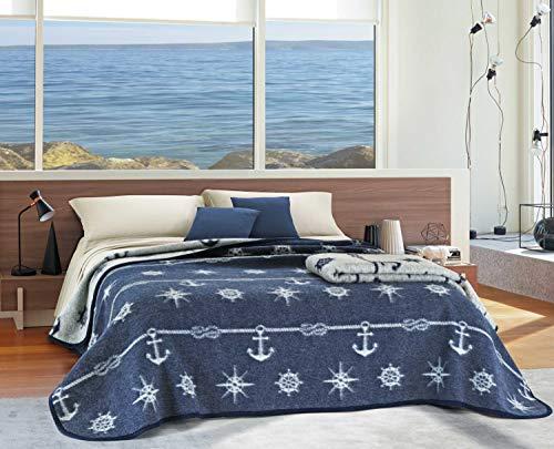 Centesimo Web Shop Coperta in Lana Jacquard Matrimoniale 250x210 cm Due Piazze Due Posti Italia Nautica Marina Barca Ancore Mare Oceano Spiaggia Blu - Blu - Matrimoniale