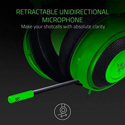 Razer Kraken - Gaming Headset (Kabelgebundene Headphones für PC, PS4, Xbox One & Switch, 50mm Treiber, 3,5mm Audio-Klinkenstecker mit In-Line Fernbedienung) grün