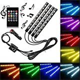 Car Neon Accent LED Strip Light, Multicolor Music Car Interior Atmosphere Lights For Car interior lighting with Sound Active Function, Wireless Remote Control, Car Charger (36 LED, 121MM)