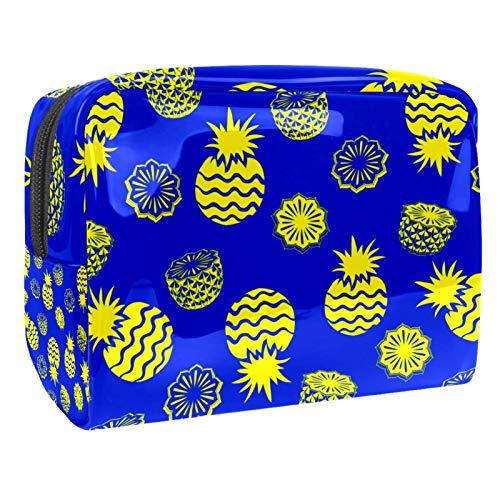 Bolsa de maquillaje portátil con cremallera, bolsa de aseo de viaje para mujer, práctica bolsa de almacenamiento cosmético, piña azul