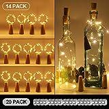 Unigoods 14 Packungen LED Flaschenlicht, 20 Ersetzen Akkus betrieben 20 LEDs 2M Lichterketten für Flaschen Weinleuchten für DIY-Schlafzimmer Partys Hochzeiten Innen Weihnachten
