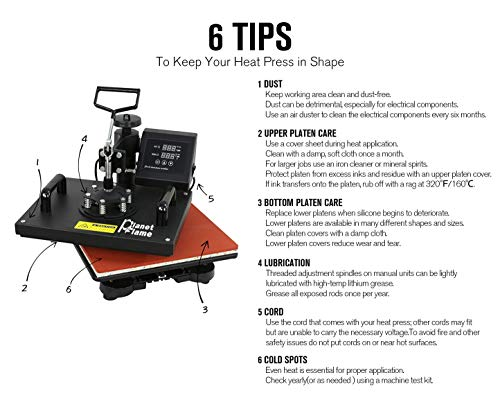 """PlanetFlame CE 12""""x15"""" Combo 5 in 1 Heat Press Machine, Sublimation DIY Hat/Mug/Plate/Cap/T-Shirt and More, Swing-Away Digital Multifunction Heat Transfer Presses"""