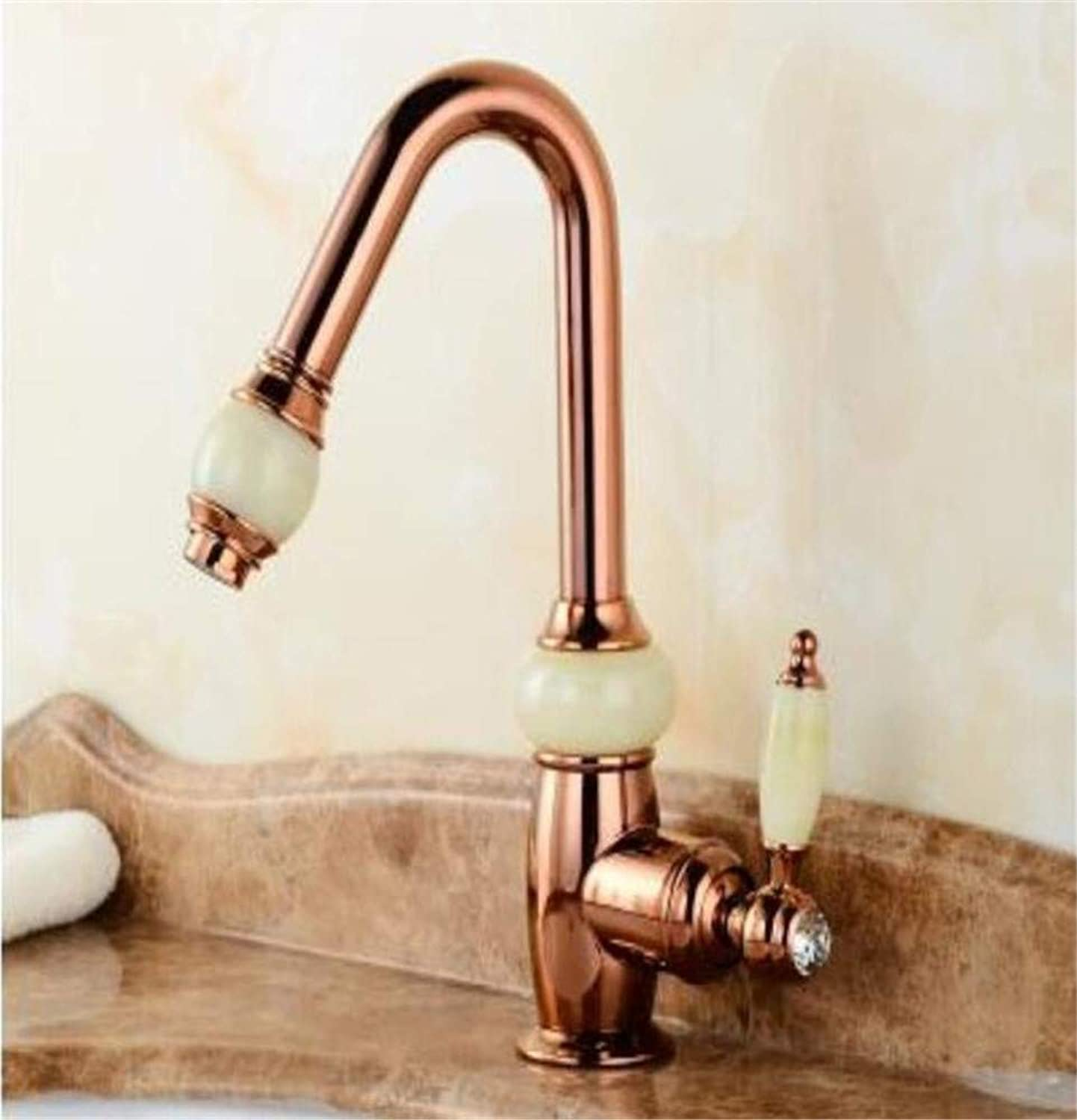 360° redating Faucet Retro Faucet Body Single Lever gold Hot and Cold Bathroom Sink Faucet Basin Tap with Shower Head