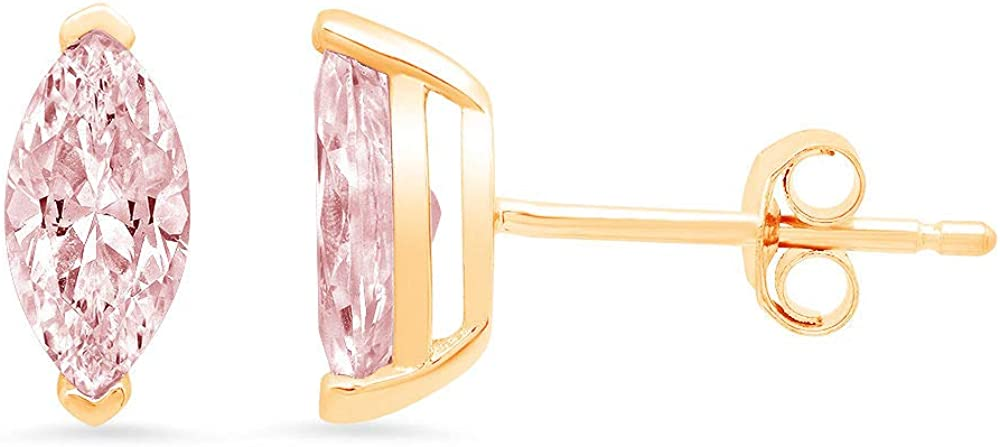 Clara Pucci 1.1 ct Brilliant Marquise Cut Solitaire Genuine VVS1 Flawless Pink Simulated Diamond Gemstone Pair of Stud Earrings Solid 18K Yellow Gold Butterfly Push Back