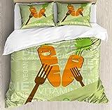 abakuhaus vegano set copripiumino, sorridente carota amore vegan, arredamento del letto 3 pezzi con 2 fodere cuscini, 200 x 200 cm - 70 x 50 cm, pale green arancione marrone