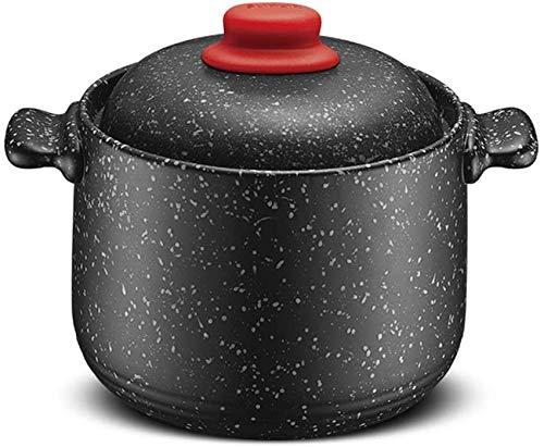 Cocotte En Granit Antiadhésive, Grande Marmite En Granit, Batterie De Cuisine En Céramique, Marmite à Soupe Résistante à La Chaleur, Casserole Avec Couvercle, Marmite à Ragoût Le(Color:Noir,Size:4.5L)