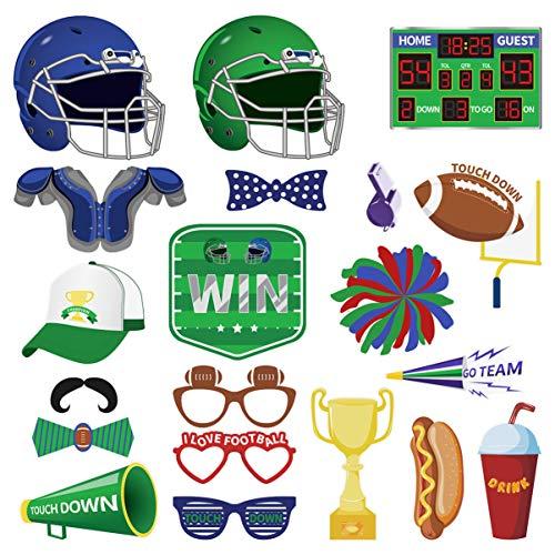 Amosfun 20 Stücke Fußball Photo Booth Requisiten Super Bowl Sport Foto Requisiten Spiel Tag Party Dekorationen Liefert