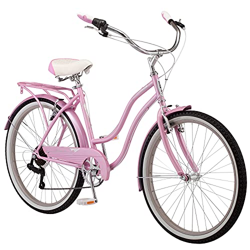 Schwinn Perla Women's Cruiser Bicycle, Featuring 18-Inch Step-Through Steel Frame and 7-Speed Drivetrain with Front and Rear Fenders, Rear Rack, and 26-Inch Wheels, Pink