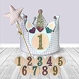 Corona Cumpleaños Tela Rosa Niña con Numeros del 1 al 9 reversible Vichy y Lunares Set Gorro cumpleaños + Varita magica Estrella