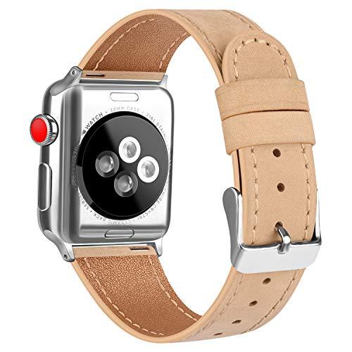 AK Kompatible für Apple Watch Armband 38mm 42mm 40mm 44mm, Ersatz Weiche Leder Armband für iWatch Series 5 4 3 2 1 (Aprikose, 38mm/40mm)