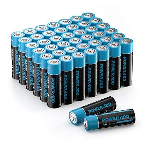 POWERADD AA Alkaline Batterien LR6 Mignon Batterien 1.5 V als leistungsstarke Einwegbatterien 44er Pack