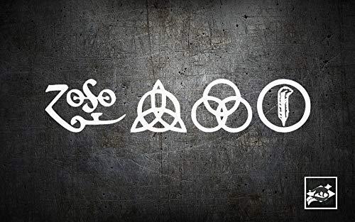 Wall Art Led Zeppelin Zoso Simboli Vinil| Adesivo per auto | decalcomania | Adesivo per computer portatile | positivo | Novità Sticker | Classic Rock | Zoso Decal facile da applicare