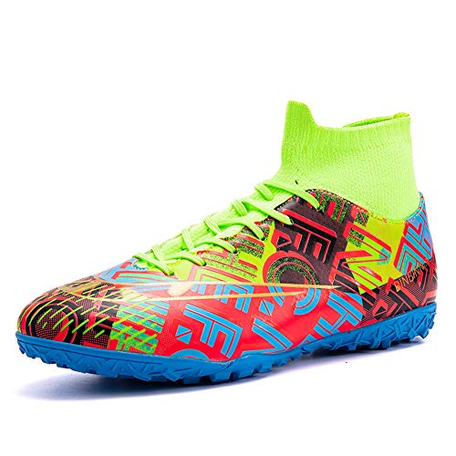 Soccer Shoes for Big boys - Messi Loves Style Rilievo 3D Turf Indoor Youth Football Shoes - High Top Ankle Boots with Irregular Jigsaw Bright Color for Women - Outdoor Training TF/AG Men size (Green, 10)