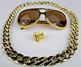 Panelize® Proll Lude Macho Proleth Angeber Hip Hop Rapper Bonzen Set Brille Ring Kette Gold