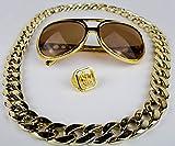 Panelize® Proll Lude Macho Proleth Angeber Hip Hop Rapper Bonzen Set Brille Ring Kette Gold