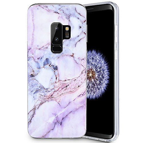 Caka Galaxy S9 Plus Case, Galaxy S9 Plus Marble Case Slim Anti Scratch Shockproof Luxury Fashion Silicone Soft Rubber TPU Protective Case for Samsung Galaxy S9 Plus (Pink)