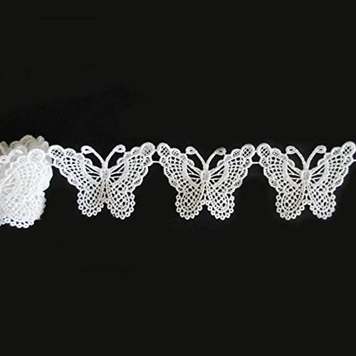 e199715e51 Qiuda 3 Yards Butterfly Lace Edge Trim Ribbon 5cm Width Vintage Style White  Edging Trimmings Fabric