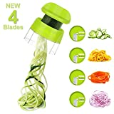 Sedhoom 4 in 1 Handheld Spiralizer Vegetable Slicer, Vegetable Spiralizer, Zucchini Spaghetti Maker,...