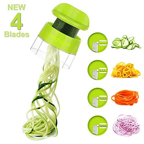 Handheld Spiralizer Vegetable Slicer, Sedhoom 4 in 1 Zucchini Spiraler, Zucchini Spaghetti Maker for Low Carb/Paleo/Gluten-Free Meals