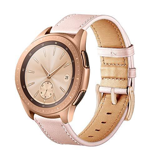 SUNDAREE Kompatibel mit Galaxy Watch Active2/Galaxy Watch 42MM Armband,20MM Echt Lederband Armband Ersatzarmband Uhrenarmband für Samsung Galaxy Watch Active2/Galaxy Watch 42/S2 Classic(Leder Rosa)