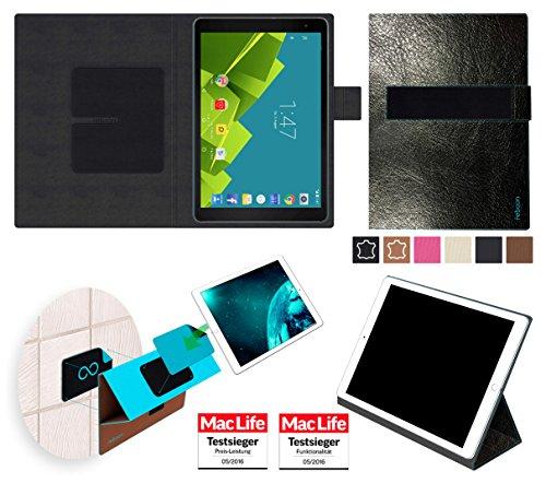 reboon Hülle für Vodafone Tab Prime 6 Tasche Cover Case Bumper | in Schwarz Leder | Testsieger