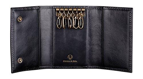 Cronus & Rhea Schlüsseletui aus exklusivem Leder (Janus)   Schlüsselmäppchen - Schlüsselanhänger   Echtleder   Mit eleganter Geschenkbox   Herren - Damen (Schwarz)