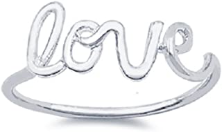 CloseoutWarehouse Sterling Silver Love in Script Wire Ring (Color Options, Sizes 3-15)