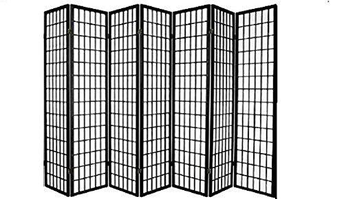 SQUARE FURNITURE Panel Shoji Screen Room Divider 3-10 Panel (7 Panel, Black,)