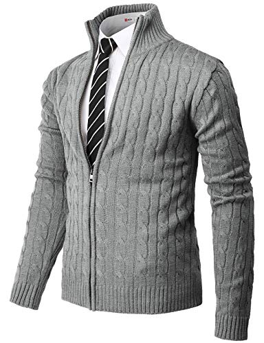H2H Mens Casual Slim Fit Knitted Cardigan Zip-up Long Sleeve Thermal with Twisted Pattern Gray US L/Asia XL (CMOCAL034)
