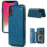 iPhone X/XS Wallet Case, iPhone X/XS Case with Credit Card Holder, JOYAKI Slim PU Leather Case with Card Slots, Protective Case with a Screen Protective Glass for iPhone X/XS 5.8 inch-Steelblue