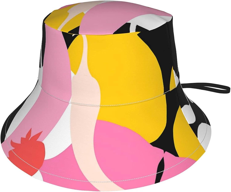 Minimal Fruit Print Kids Bucket Hat Sun Protection Hat for Boys Girls Breathable Summer Play Hat Black