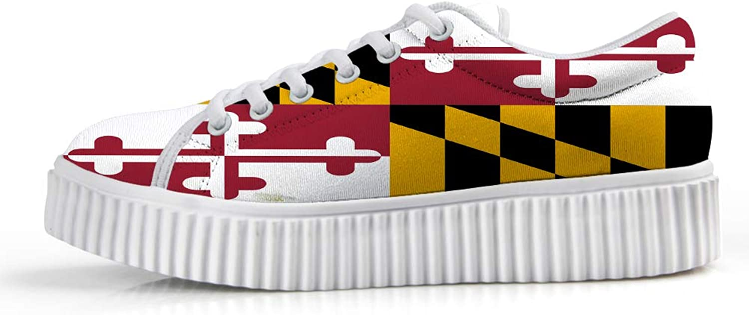 Owaheson Platform Lace up Sneaker Casual Chunky Walking shoes Low Top Women Maryland Flag