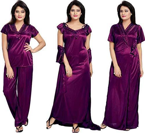 Bombshell Women's Satin Maxi Nightwear Set (Pack of 4) (40001928_Purple)