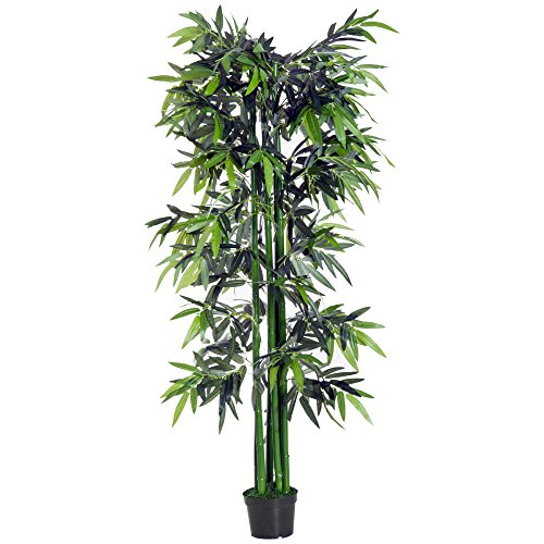 Photo of Outsunny 6ft Artificial Bamboo Tree Plant Greenary in A Pot for Home Office Planter 1.8M