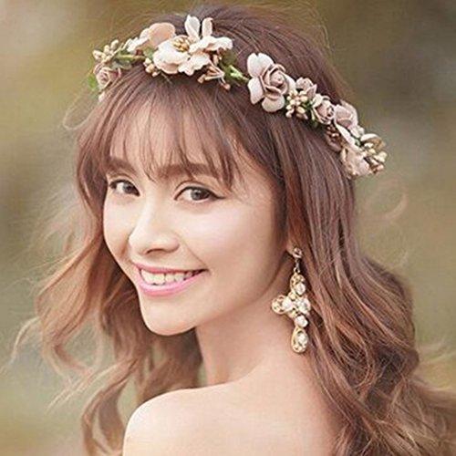Simsly FS-081 Haarreif mit Rosenkranz und Blumen-Zubehör für Bräute und Brautjungfern
