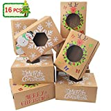 Moretoes 16pcs Christmas Cookie Gift Boxes Treat Boxes For Gift Giving, Pastry, Candy, Party Favors,...