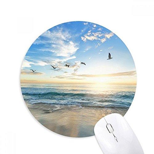 Ocean zand strand vogel zee beeld ronde anti-slip rubber muismat spel office muismat cadeau