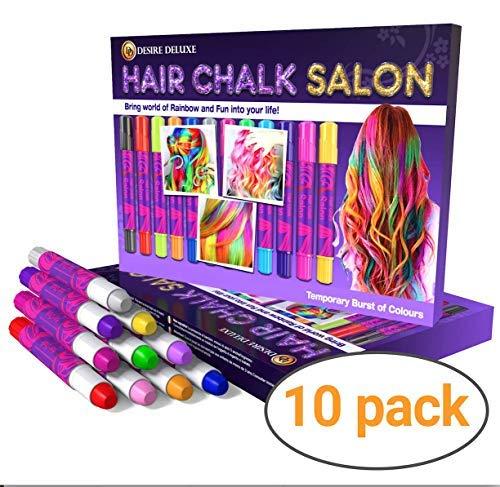 Desire Deluxe Hair Chalk Geschenke für mädchen, Haarkreide zum Haare Färben Spielzeug für Weihnachten, 10 auswaschbare Haarfärbe-Stifte, für Fasching, für Kinder im Alter von 3 4 5 6 7 8 9 11 Jahren