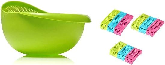 Rice, Fruits, Vegetable, Noodles, Pasta - Washing Bowl & Multipurpose Food Snack Plastic Bag Clip Sealer
