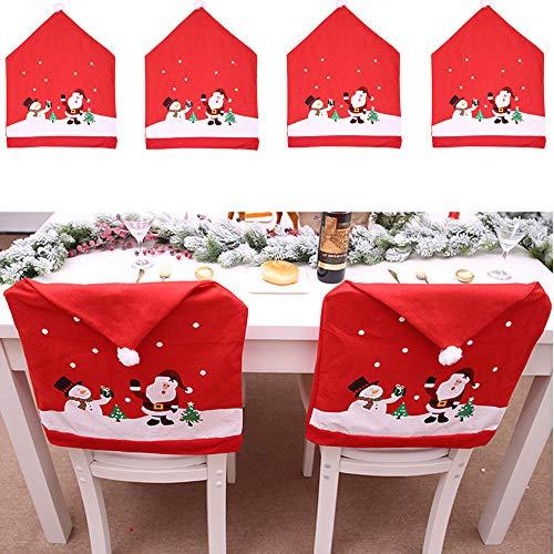 Juego de 4 fundas para sillas de Navidad, de Nozomi, con diseño de Papá Noel, muñeco de nieve, co