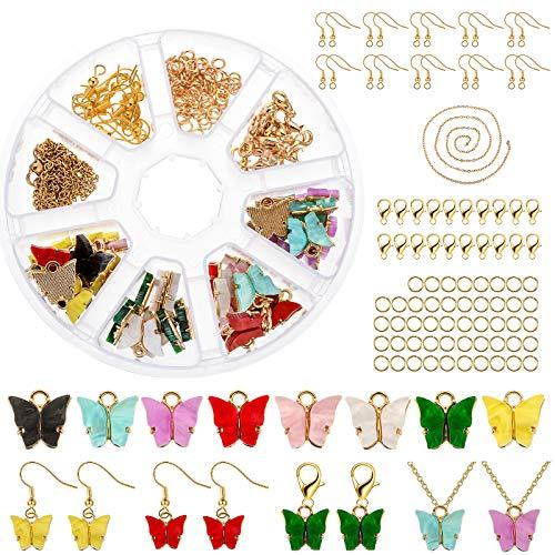 JuneJour Juego de 137 colgantes de mariposa con osito de caramelo, para manualidades, joyas, pendientes, pulseras, collares y mujeres